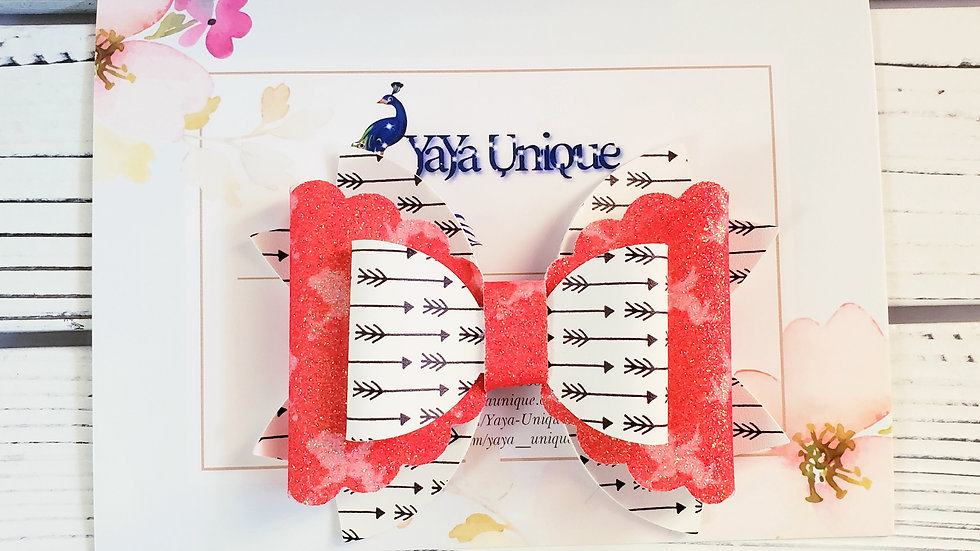 Valentine Cupid Faux Leather Hair Bow