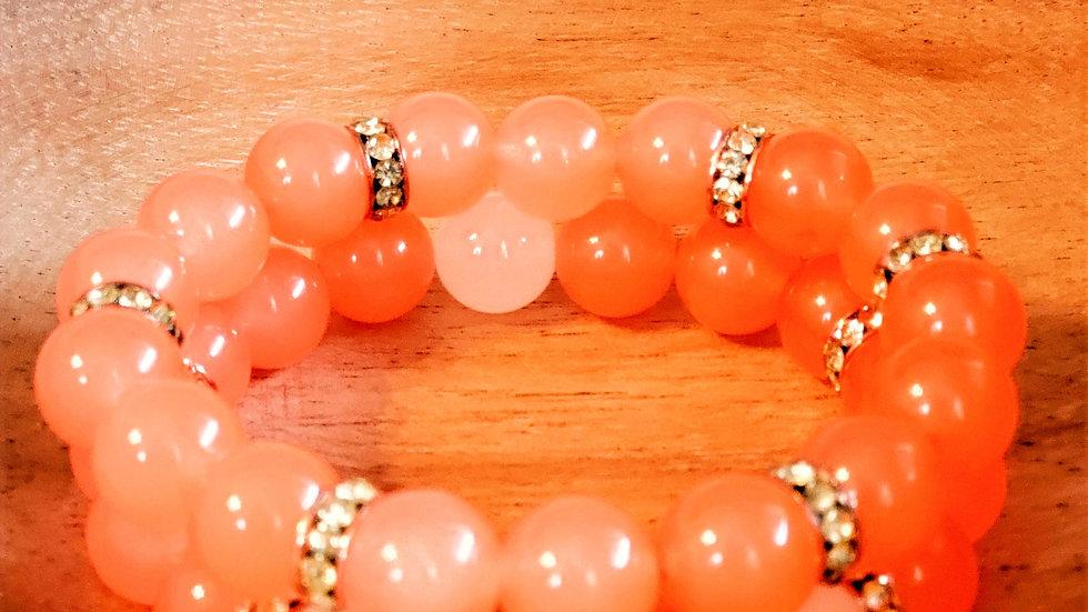 Coral Rhinestone Bracelet Set