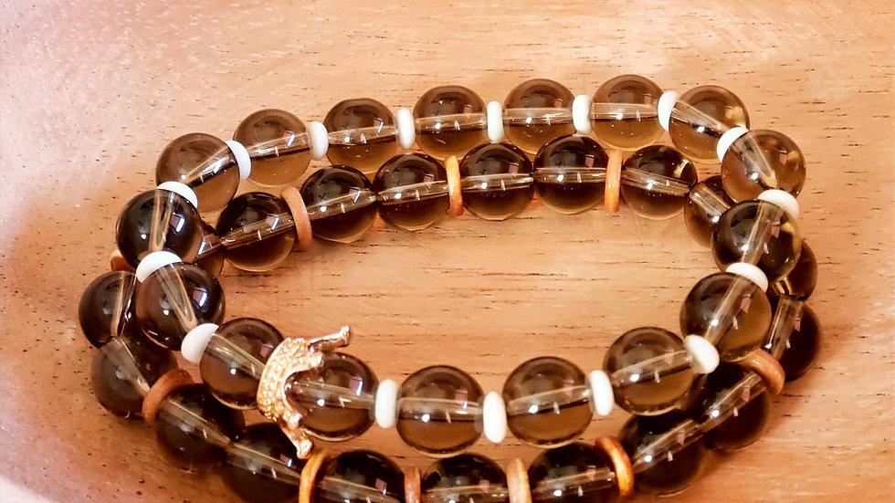 Smoky Quartz Bone Bead Bracelet Set