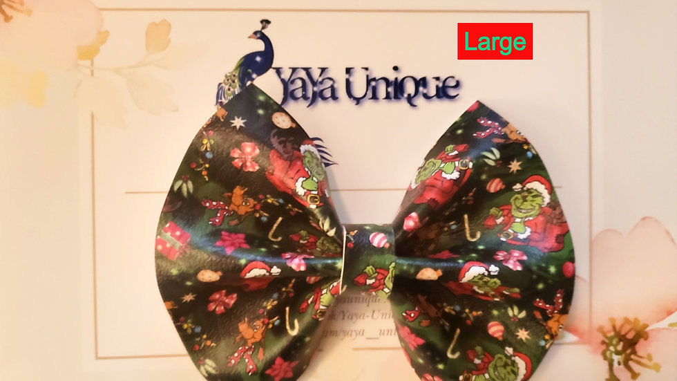 The Christmas Thief Faux Leather Hair Bow