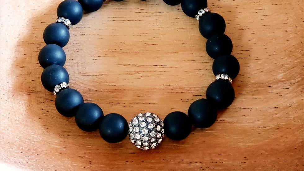 Matte Black Agate and Rhinestone Bracelet