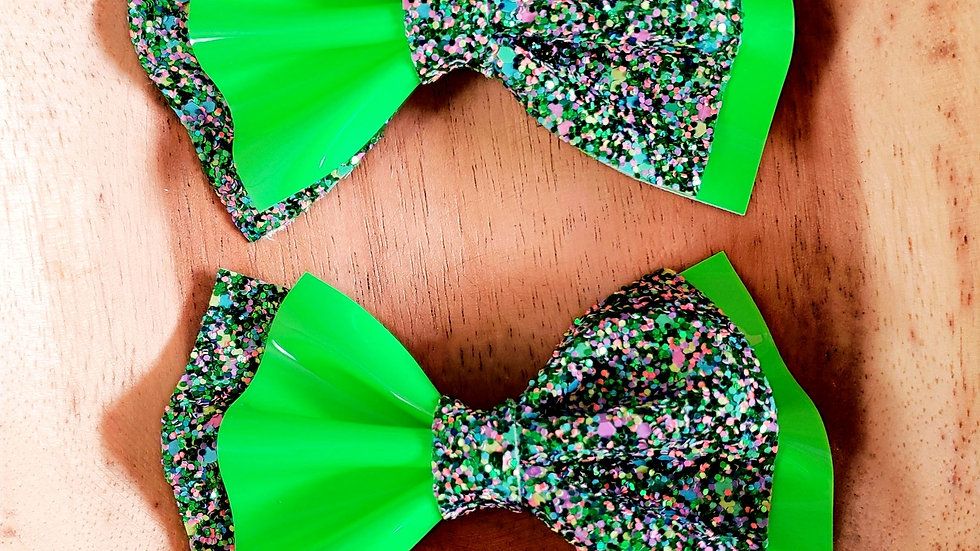 Glitter & Green Patent Faux Leather Hair Bow