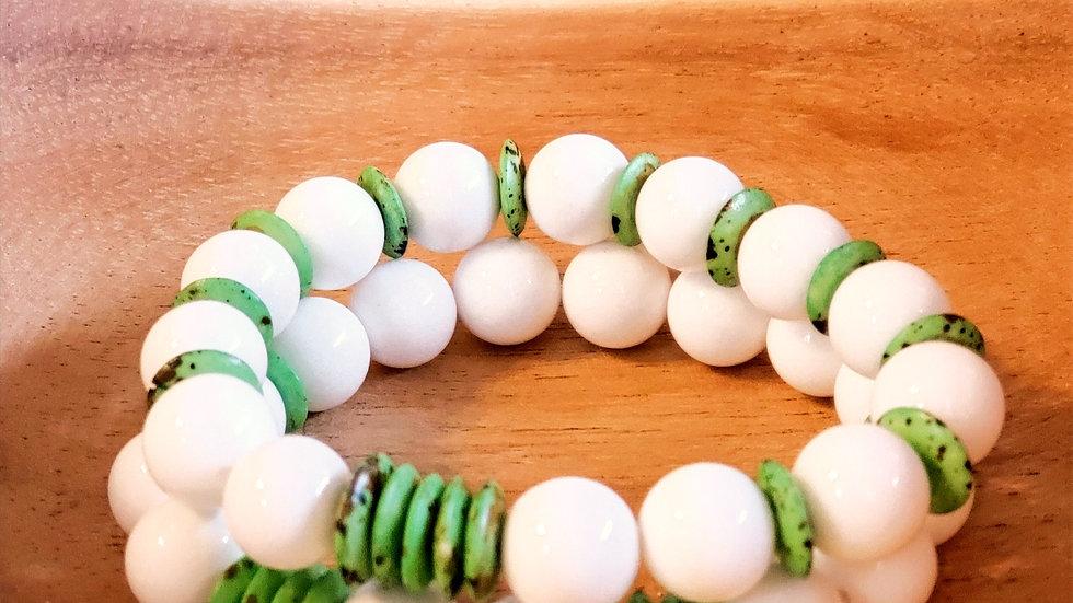 White Jade and Bone Bead Bracelet Set