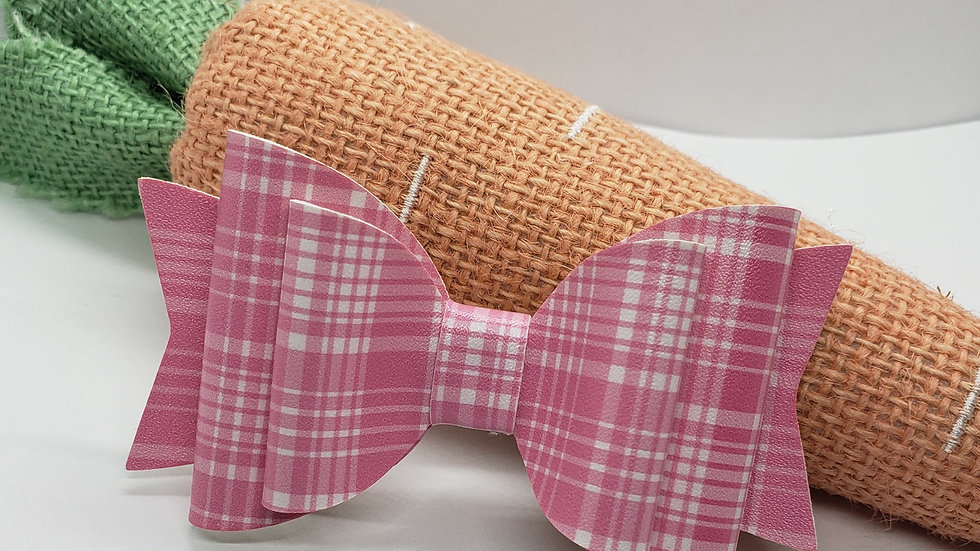 Pink Plaid Faux Leather Hair Bows