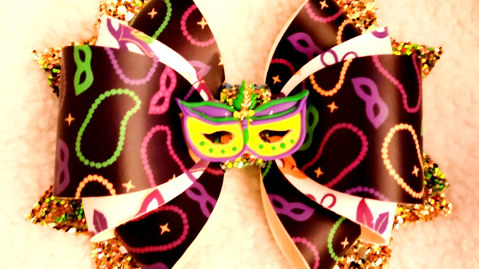 Mardi Gras Faux Leather Hair Bows