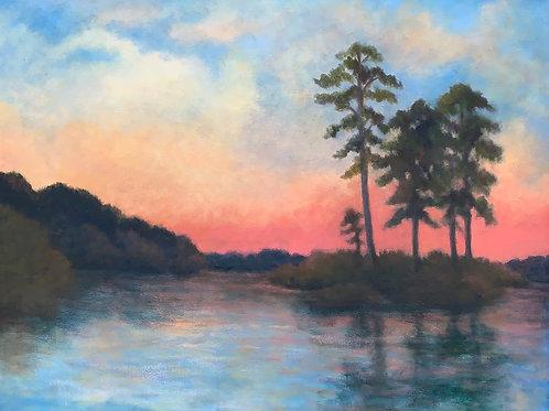 Adelia Turner, Red Sky, Oil, 24 x 30