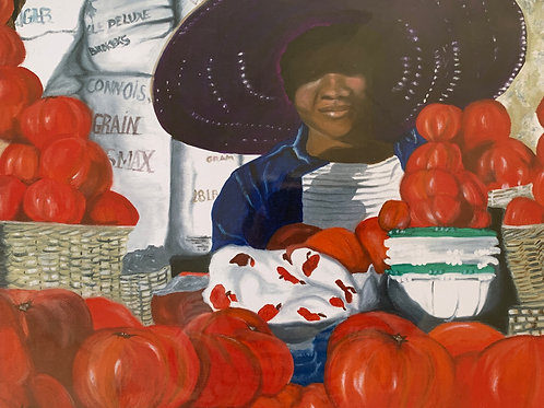 Mary Hanby, Tomato Lady, Acrylic Giclee, 11 x 13