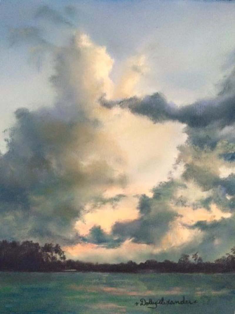 D. Alexander, pastel, Puffer Clouds
