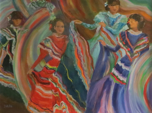 Ildiko Andrews, Colorful Dancers, Oil, 16 x 20