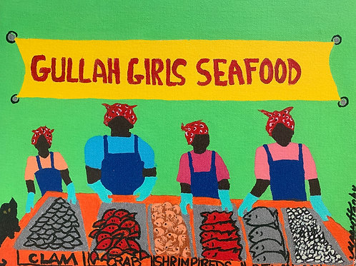 Mary Hanby, Gullah Girls Seafood, Acrylic Giclee, 11 x 14