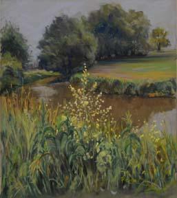 Paula Kuehl_Yellow Flowers by the Creek_325
