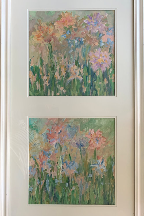 Hope Brannon, Summer Flowers: Diptych, Acrylic, 25 x 44