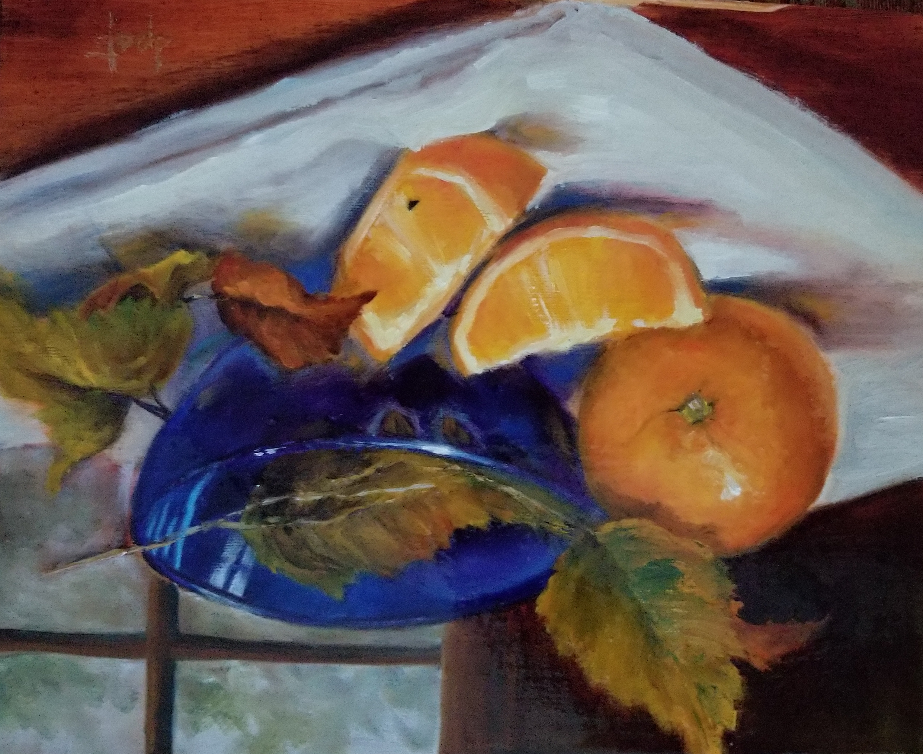 Donna Pate Oranges with Blue Bowl  8x10