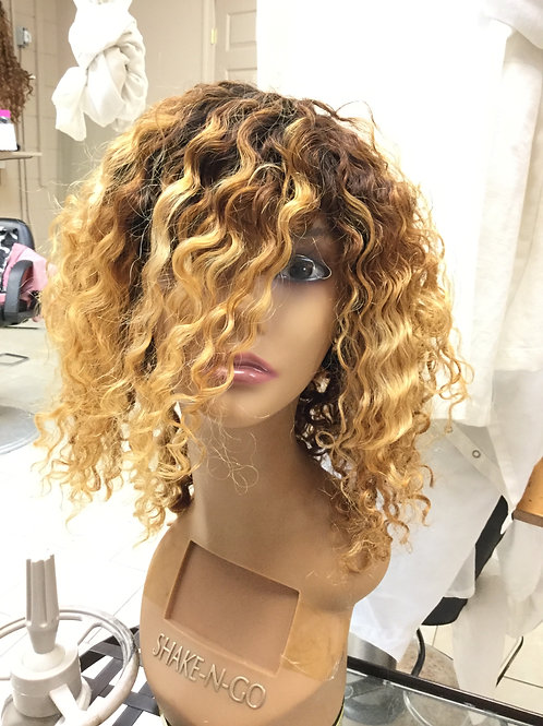 """12"""" Deep wave Lace Front Wig Custom color"""