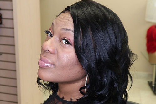 14' Lace Front Wig Color Black Blue