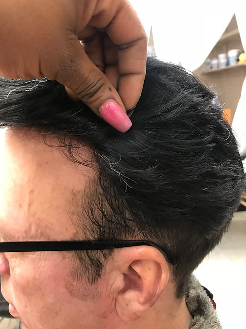 Toupee custom cut color black strands added to create hairline