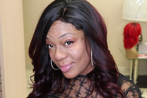 16' Lace Front Wig Crimson Red