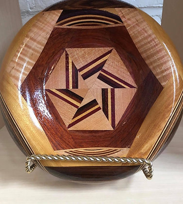 Shallow Inlaid Wooden Bowl