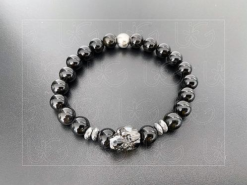 Pulsera piedras naturales, cráneo chico cristal Swarovski y plata .925