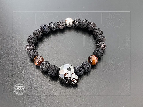 Pulsera piedras naturales, cráneo cristal Swarovski y plata .925