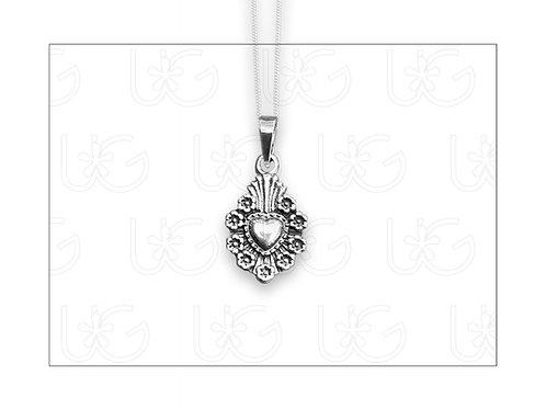 "Dije ""milagro"" de plata modelo flores con cadena"