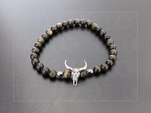 Pulsera piedras naturales y cráneo toro de plata fina .925