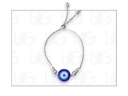 Pulsera de plata con ojo turco redondo grande, ajustable