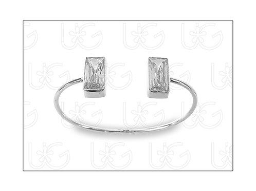 Brazalete de plata .925 ajustableCHICO, con zirconia doble rectángulogrande