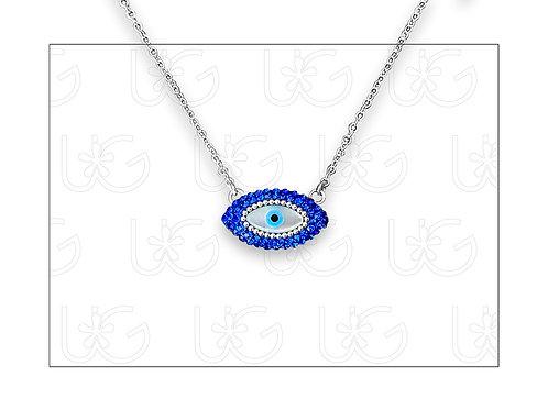 Collar sencillo de plata con ojo turco ovalado