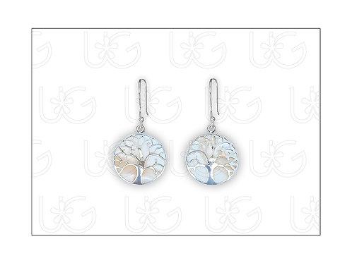 Aretes árboles de la vida con arillo (cuelgan), calado a mano en plata fina .925