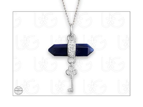 Dije lapislázuli rodeado con cristales Swarovski y llave de plata