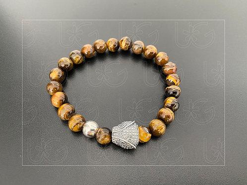 Pulsera piedras naturales y jaguar de plata fina .925