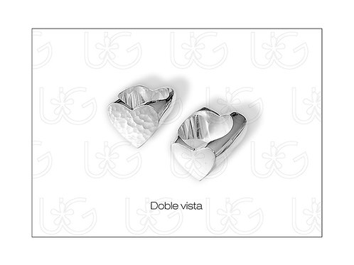 Anillo de plata fina .925 con corazón, doble vista