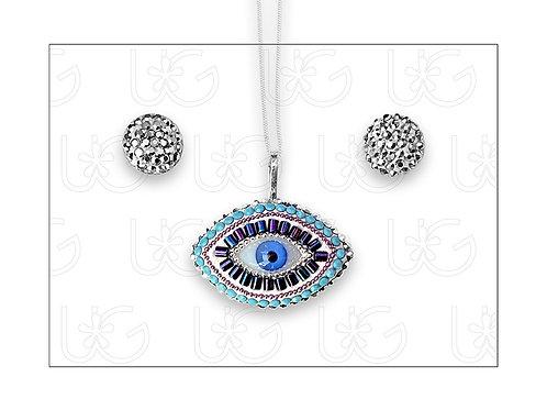 Set de aretes y dije de plata con ojo turco ovalado grande, con cadena.