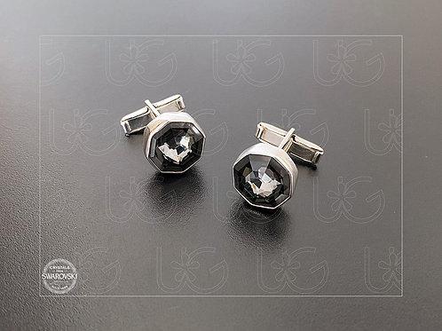 Mancuernillas de plata fina .925 con cristal Swarovski, octágono