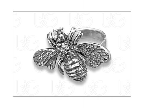 Anillo ajustable de plata fina .925, modelo abeja