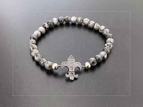 Pulsera piedras naturales y flor de lis de plata fina .925