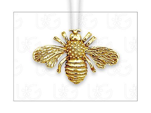 Dije /prendedor abeja de plata fina .925, chapeada en oro, con cadena