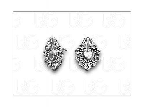 "Aretes ""milagro"" de plata modelo flores"