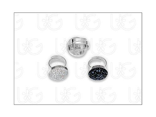 Anillo de plata fina .925 redondo, ajustable, chico, con cristales Swarovski.