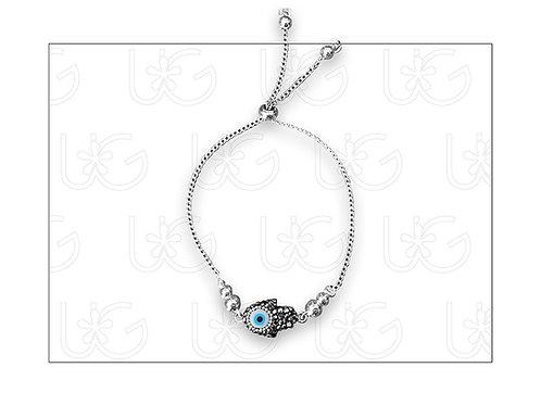 "Pulsera de plata con ""hamsa"" y ojo turco, ajustable"