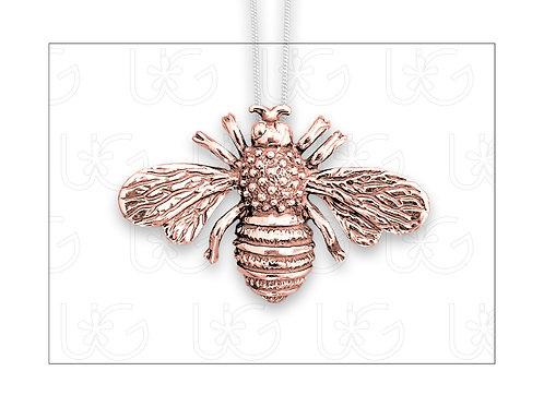 Dije /prendedor abeja de plata fina .925, chapeada en oro rosa, con cadena
