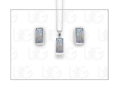 Set de aretes y dijede plata .925, con zirconia con rectánguloGRANDE.