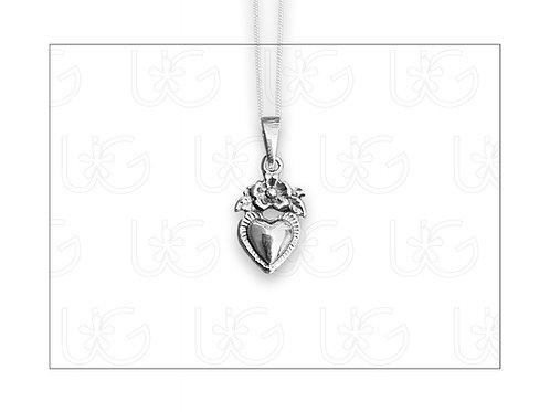 """Dije """"milagro"""" de plata modelo flor y hojas. Inlcuye cadena"""