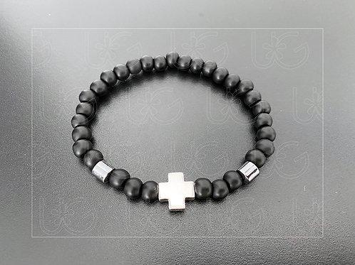 Pulsera piedras naturales y cruz de plata fina .925