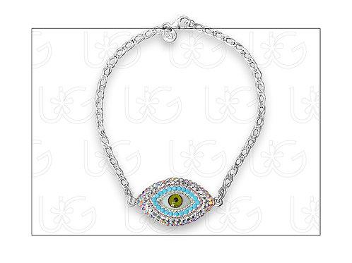 Pulsera de plata con ojo turco ovalado grande y broche