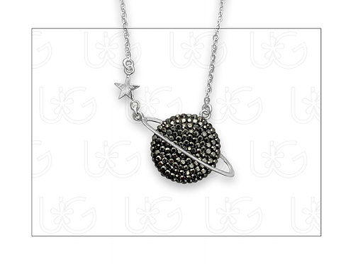 Collar de plata fina .925 y cristales con dije planeta Saturno.