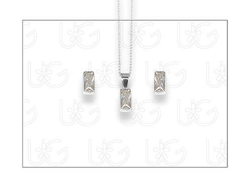 Set de aretes y dijede plata .925, con zirconia con rectánguloCHICO.