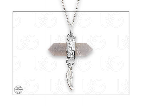 Dije cuarzo rosa rodeado con cristales Swarovski y ala de plata