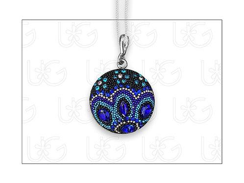 """Dije medalla """"Vida México"""" elaborado en plata, cristales y micro-perlas"""